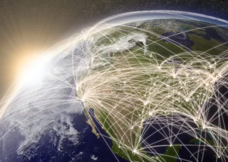 Picture of the US and connecting air traffic lines move to a unified communications solution